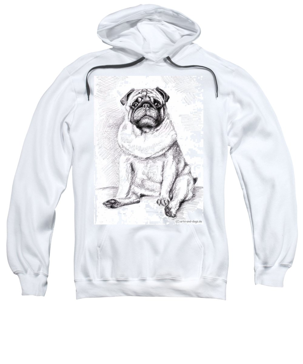 Dog Sweatshirt featuring the drawing Pug Anton by Nicole Zeug
