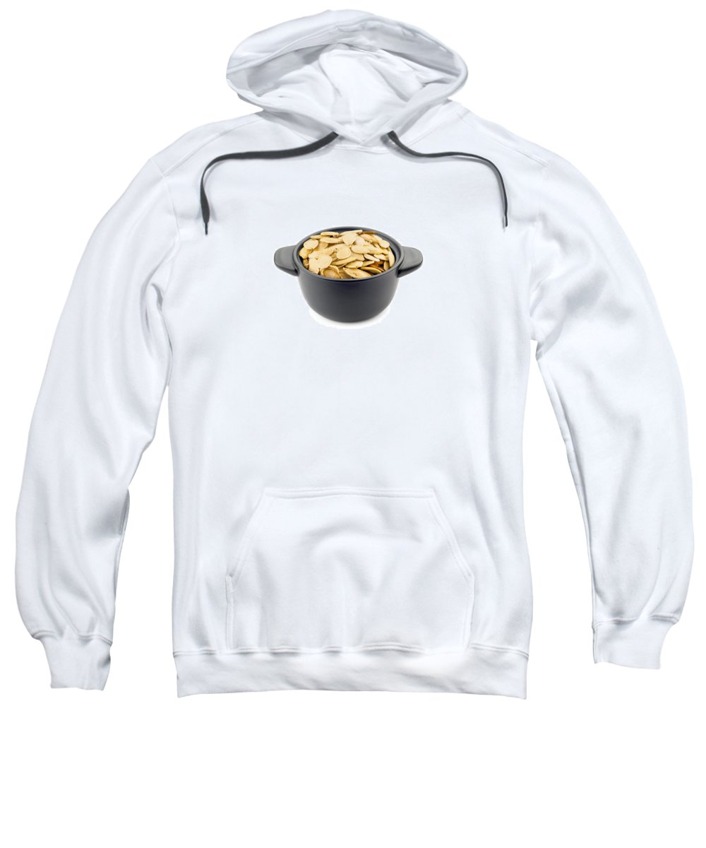 Shell Sweatshirt featuring the photograph Pumpkin Seeds In A Black Cup by Alain De Maximy
