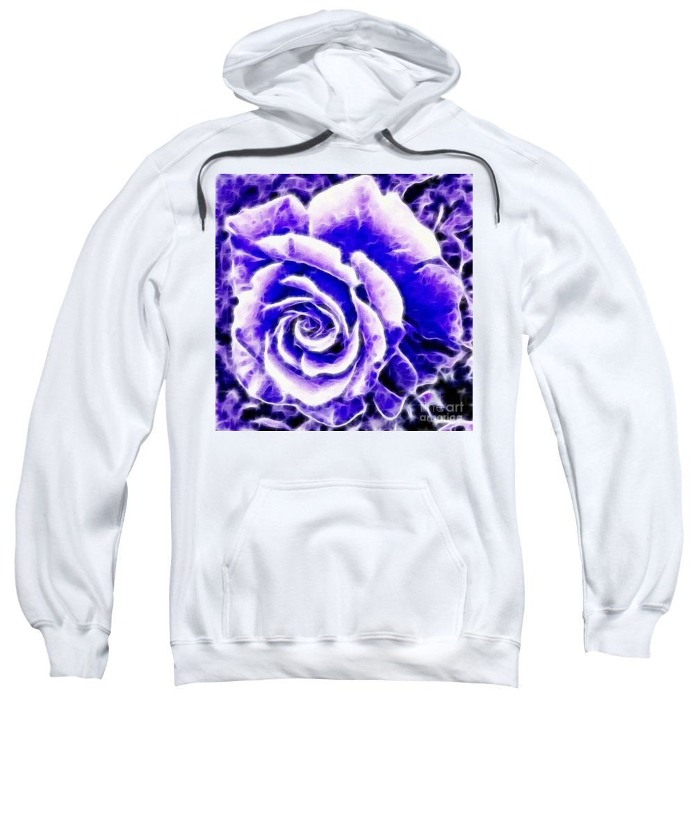 Purple And Blue Rose Expressive Brushstrokes Sweatshirt featuring the photograph Purple And Blue Rose Expressive Brushstrokes by Barbara Griffin