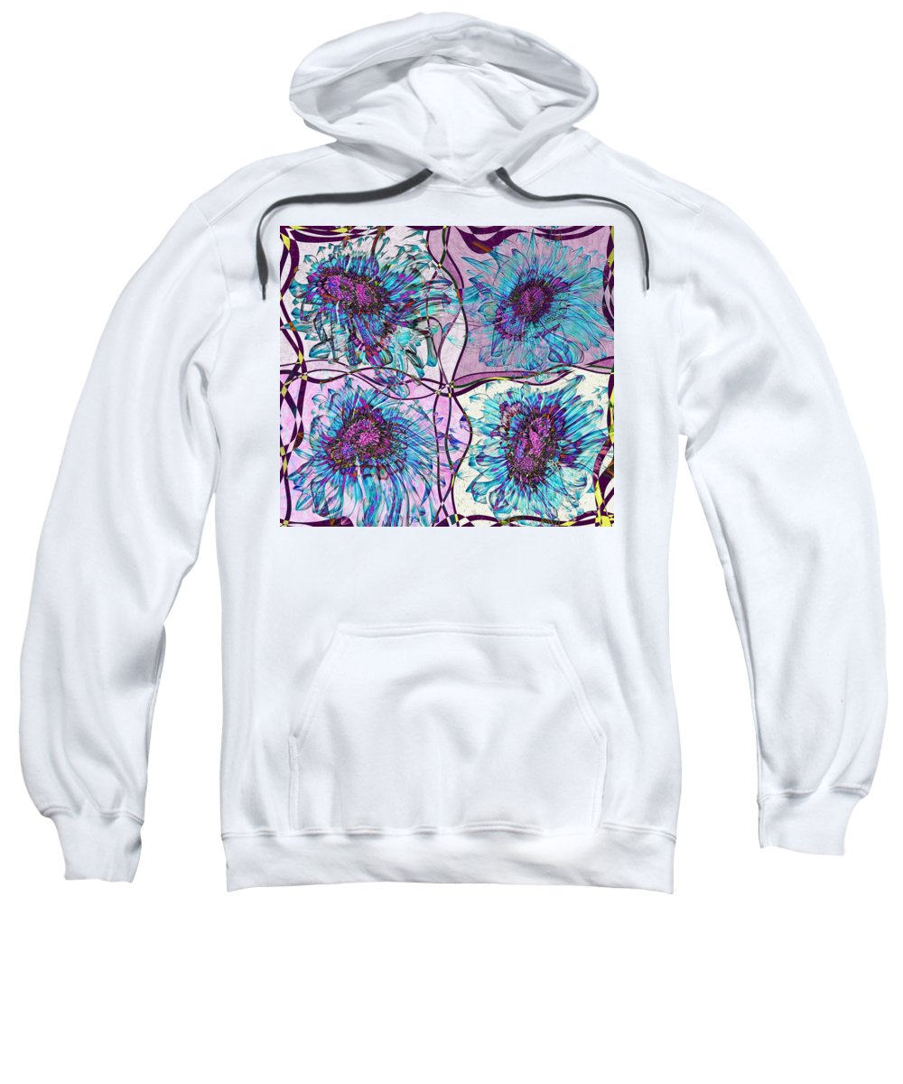 Flowers Sweatshirt featuring the digital art Quatro Floral - 11ac04 by Variance Collections