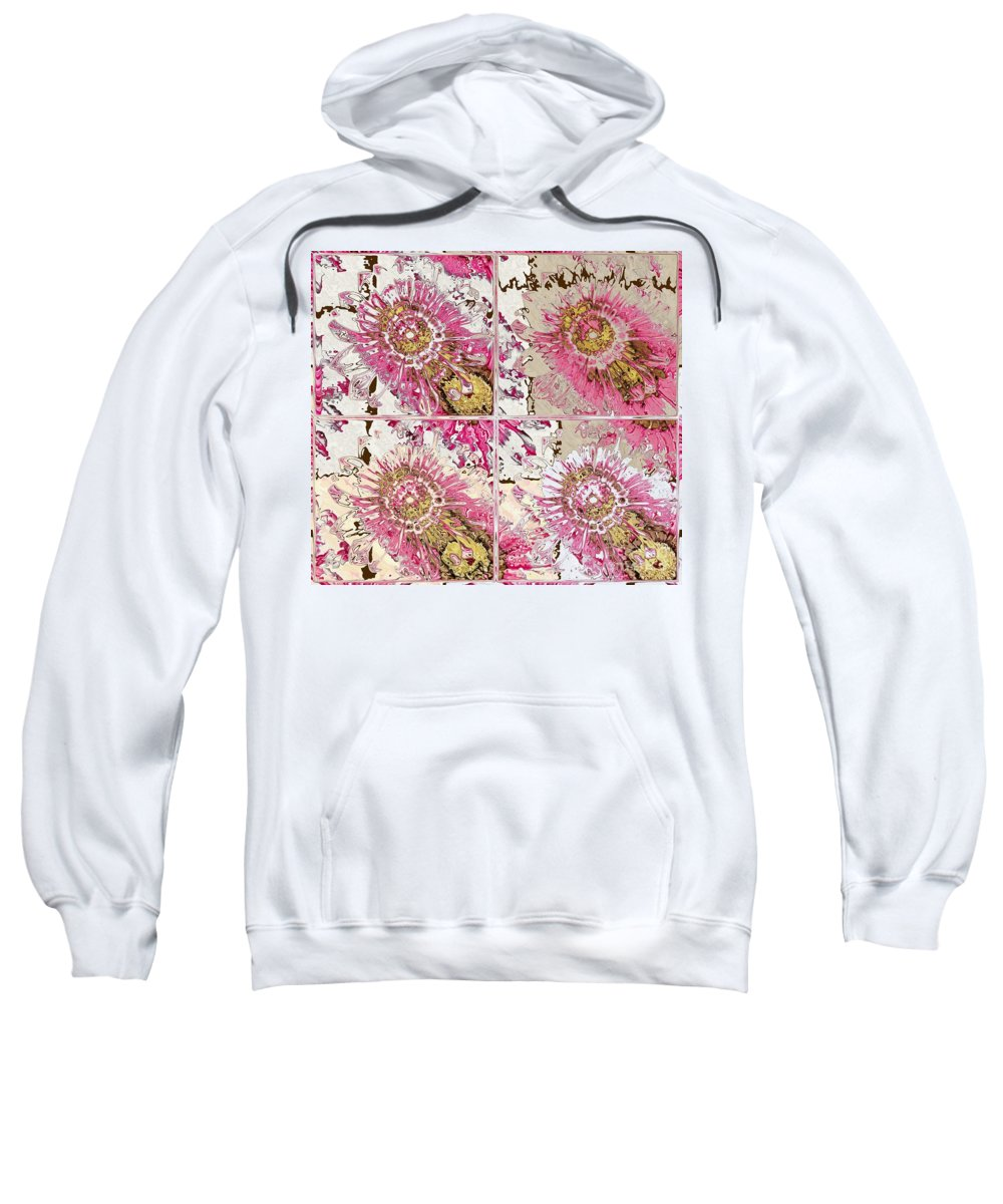 Flowers Sweatshirt featuring the digital art Quatro Floral - 22a by Variance Collections