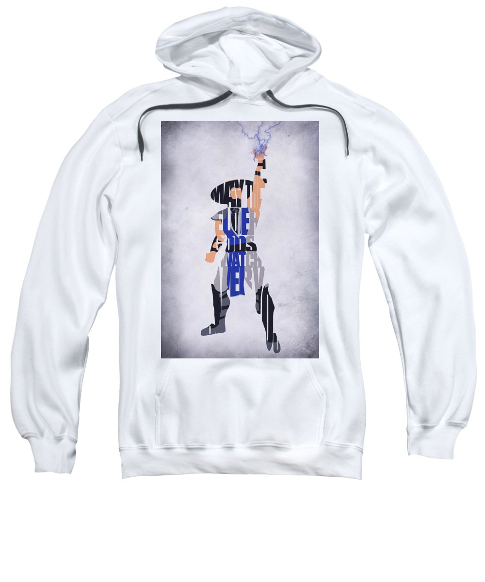 Raiden Sweatshirt featuring the digital art Raiden - Mortal Kombat by Inspirowl Design
