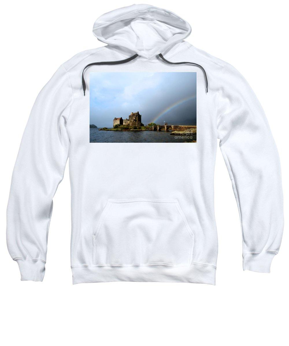 Eilean Donan Sweatshirt featuring the photograph Rainbow At Eilean Donan by DejaVu Designs