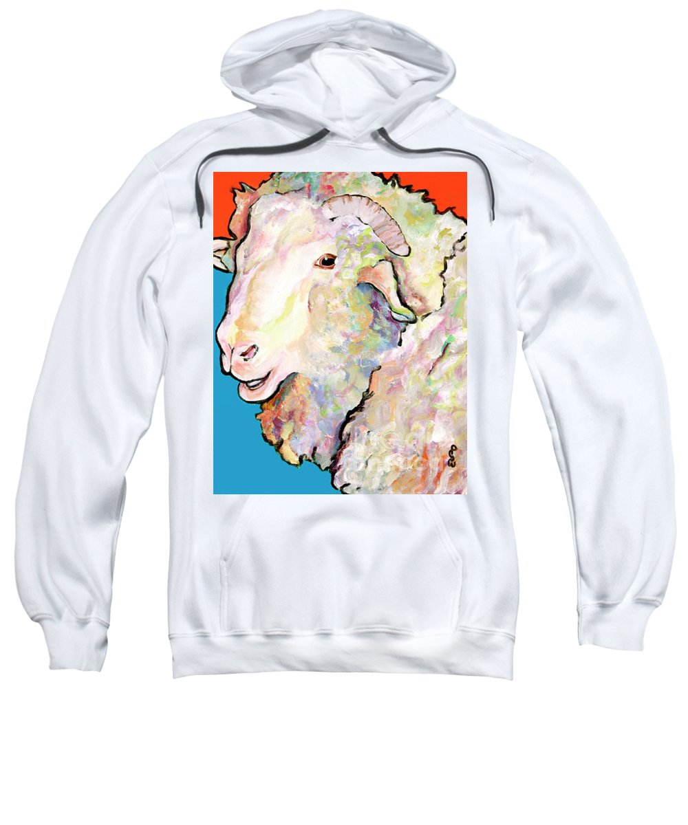 Pat Saunders-white Sweatshirt featuring the painting Rainbow Ram by Pat Saunders-White