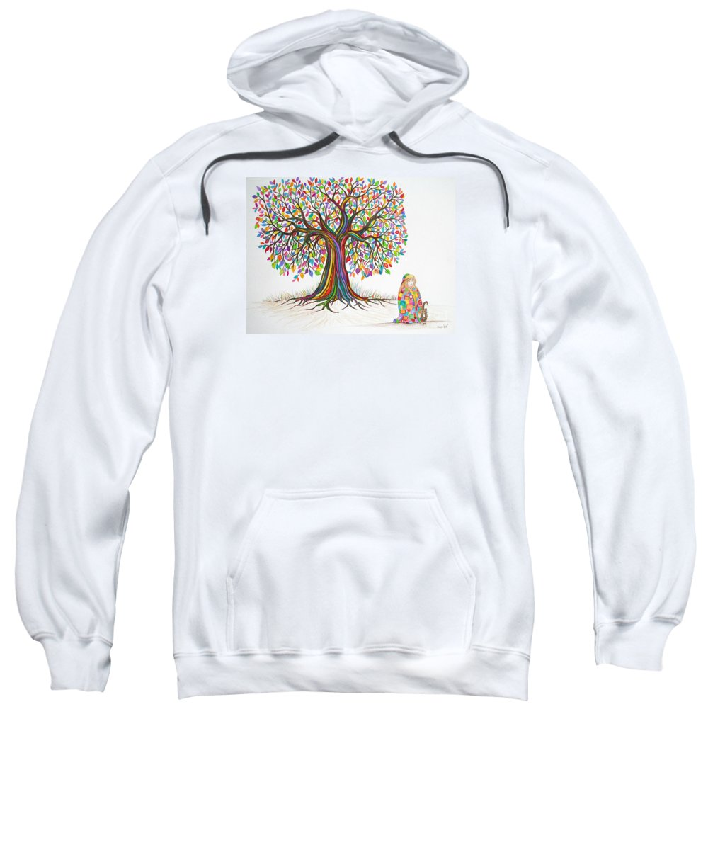 Tree Art Sweatshirt featuring the drawing Rainbow Tree Dreams by Nick Gustafson