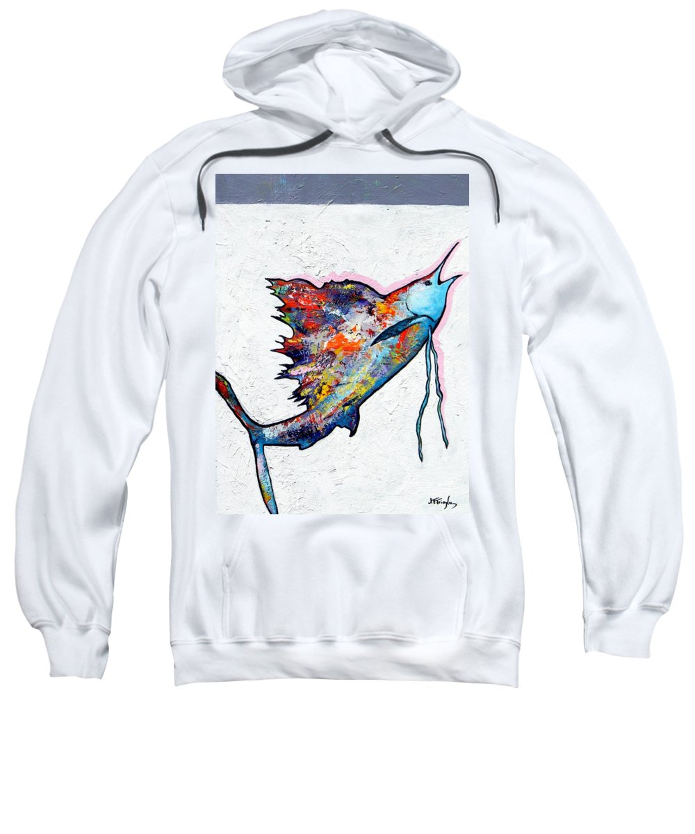 Wildlife Sweatshirt featuring the painting Rainbow Warrior - Sailfish by Joe Triano