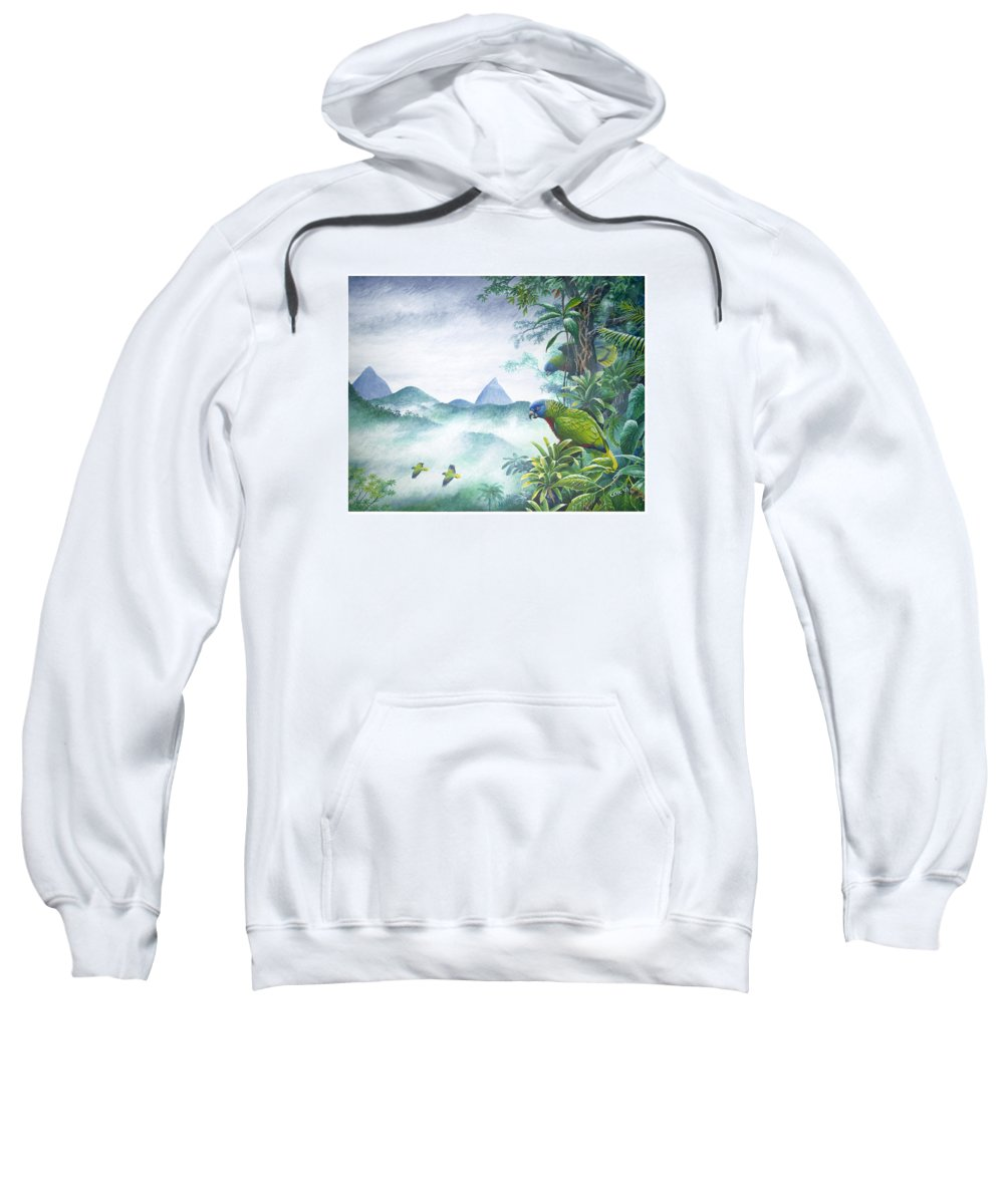 Chris Cox Sweatshirt featuring the painting Rainforest Realm - St. Lucia Parrots by Christopher Cox
