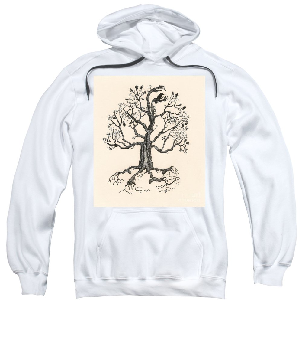 Ink Sweatshirt featuring the painting Raven's Magic Oak by Margaryta Yermolayeva