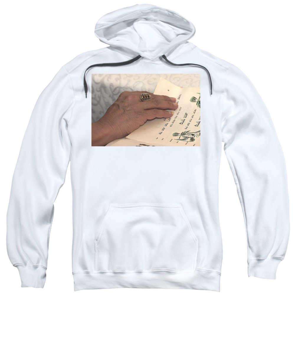 Reading Sweatshirt featuring the photograph Reading The Passover Hagadah by Nahum Budin