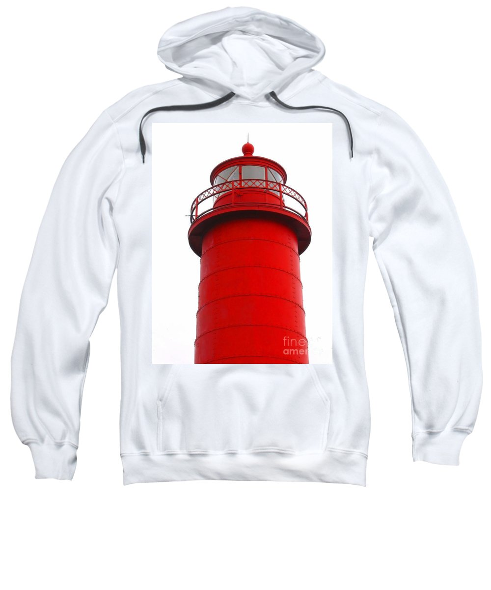 Lighthouse Sweatshirt featuring the photograph Really Red Lighthouse by Ann Horn