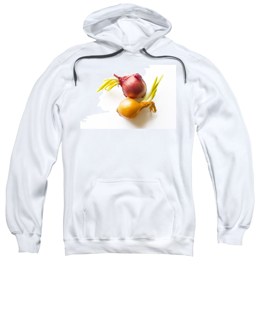 Cuisine Sweatshirt featuring the photograph Red And Yellow Onion With Sprout by Alain De Maximy