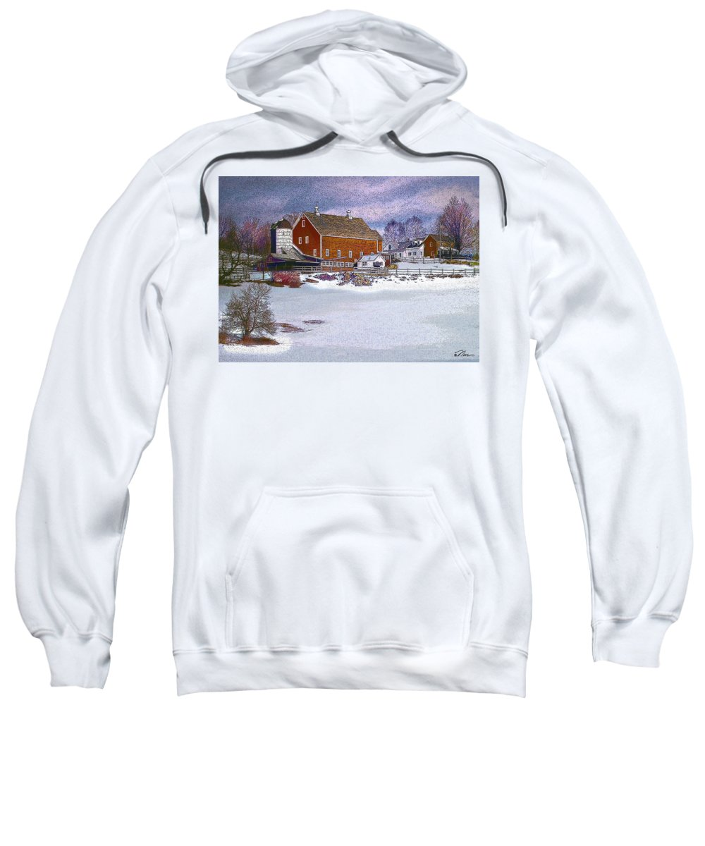 Vermont Sweatshirt featuring the digital art Red Barn In Winter by Nancy Griswold