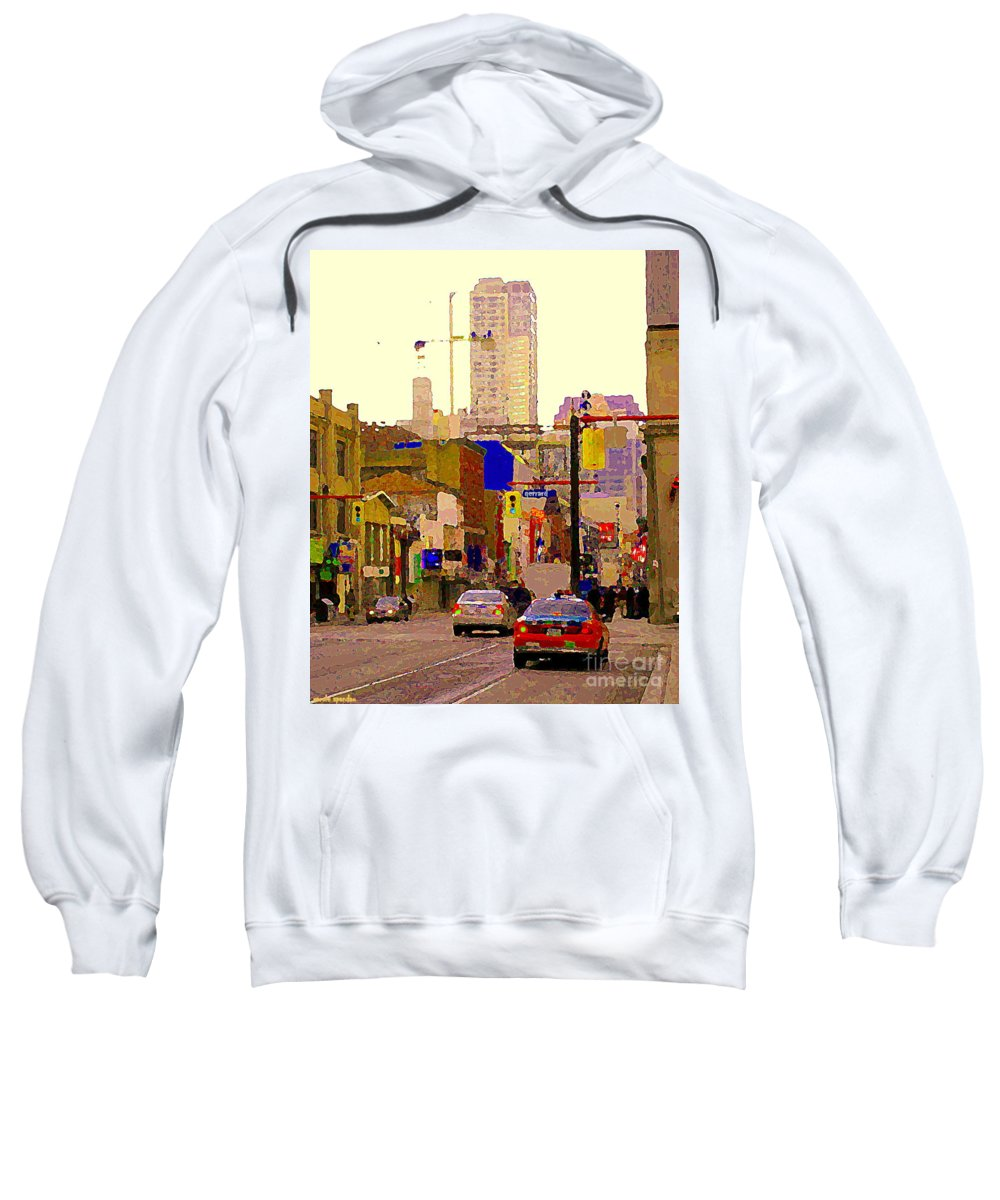 Toronto Sweatshirt featuring the painting Red Cab On Gerrard Chinatown Morning Toronto City Scape Paintings Canadian Urban Art Carole Spandau by Carole Spandau