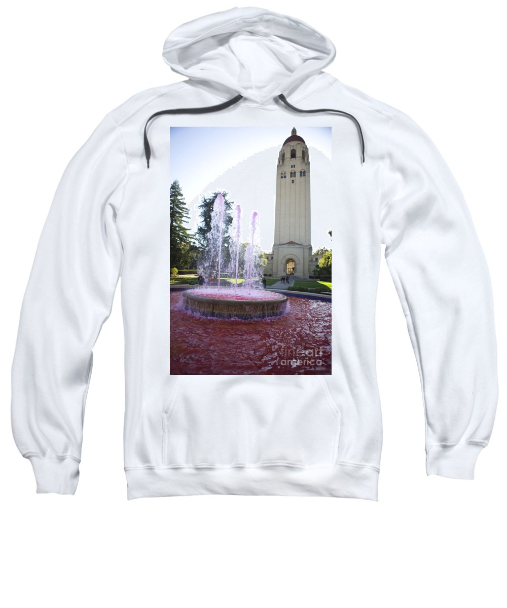 Sports Equipment Sweatshirt featuring the photograph Red Fountain And Hoover Tower Stanford University by Jason O Watson