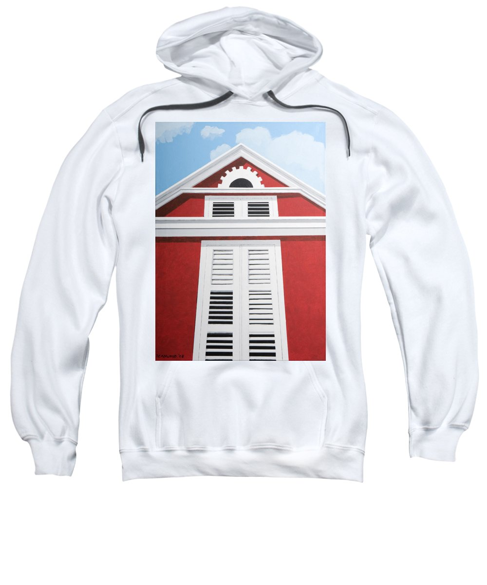 Red House Caribbean Curacao Aruba Antilles Architecture Sun Art Sweatshirt featuring the painting Red House by Trudie Canwood