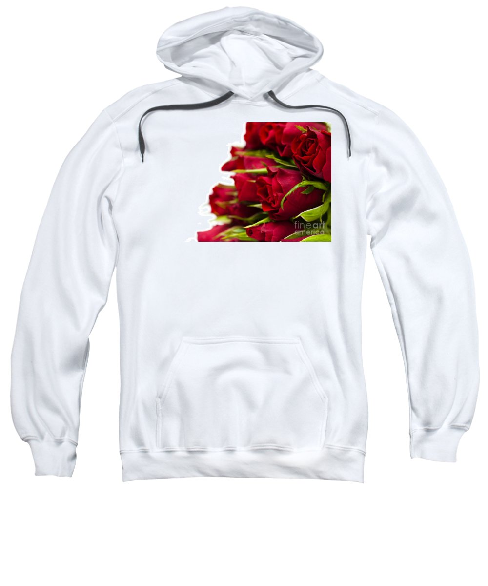 August Sweatshirt featuring the photograph Red Roses by Anne Gilbert