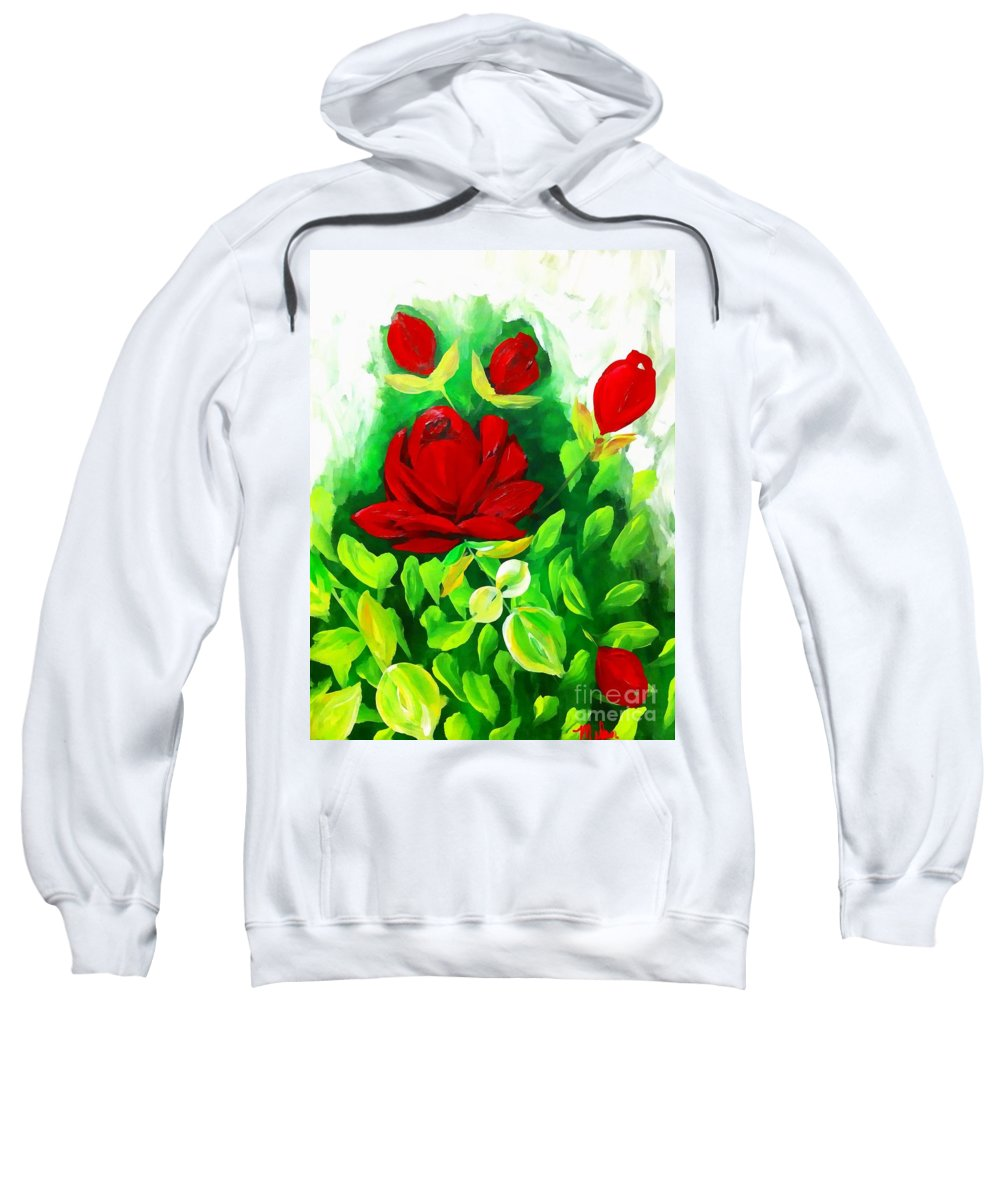 Red Sweatshirt featuring the painting Red Roses From The Garden Impression by Saundra Myles