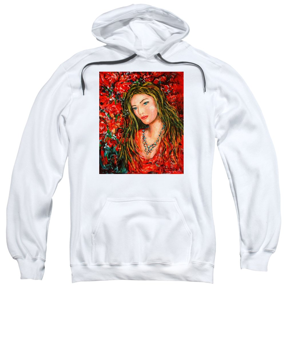 Love Sweatshirt featuring the painting Red Roses by Natalie Holland