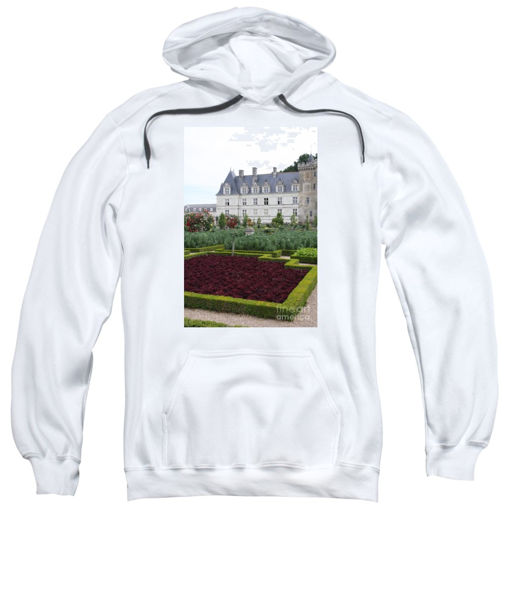 Cabbage Sweatshirt featuring the photograph Red Salad And Cabbage Garden - Chateau Villandry by Christiane Schulze Art And Photography