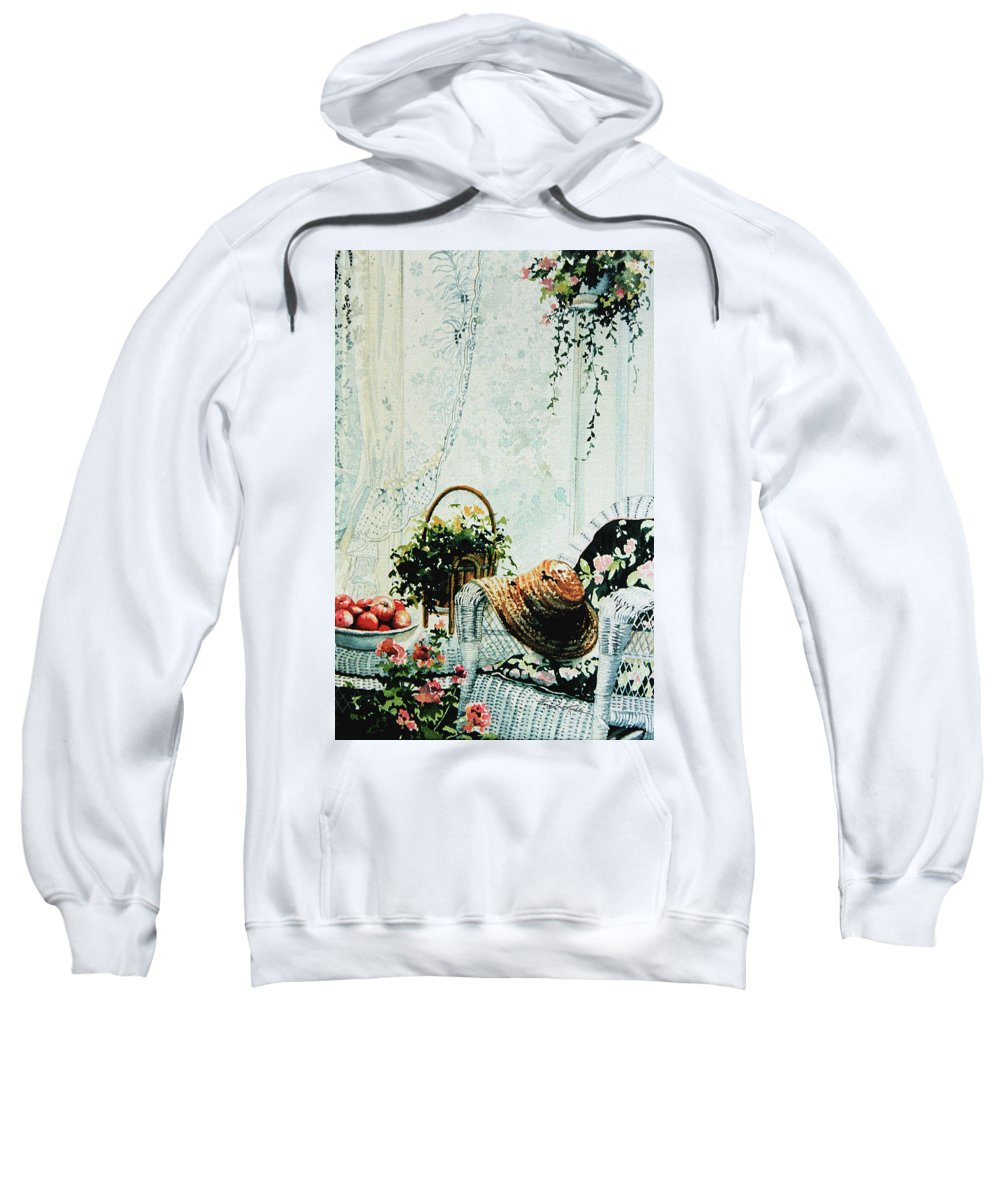 Garden Room Still Life Sweatshirt featuring the painting Rest From Garden Chores by Hanne Lore Koehler