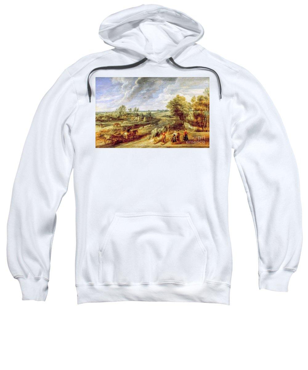 Harvest Sweatshirt featuring the painting Return From The Harvest by Viktor Birkus