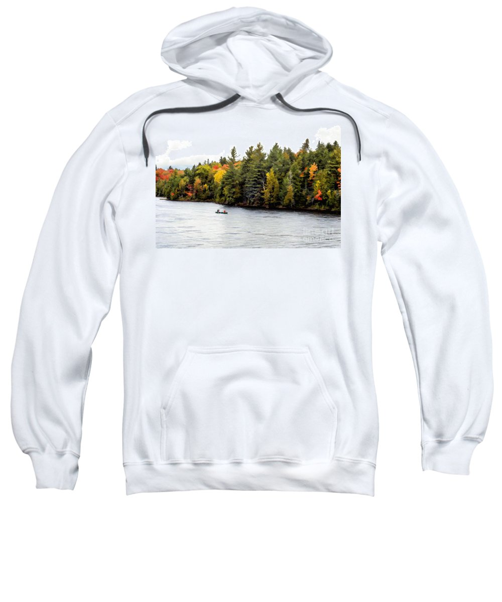 Return Sweatshirt featuring the photograph Returning From A Canoe Trip - V2 by Les Palenik