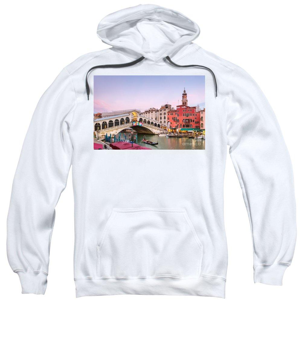 Venice Sweatshirt featuring the photograph Rialto Bridge At Sunset - Venice by Matteo Colombo