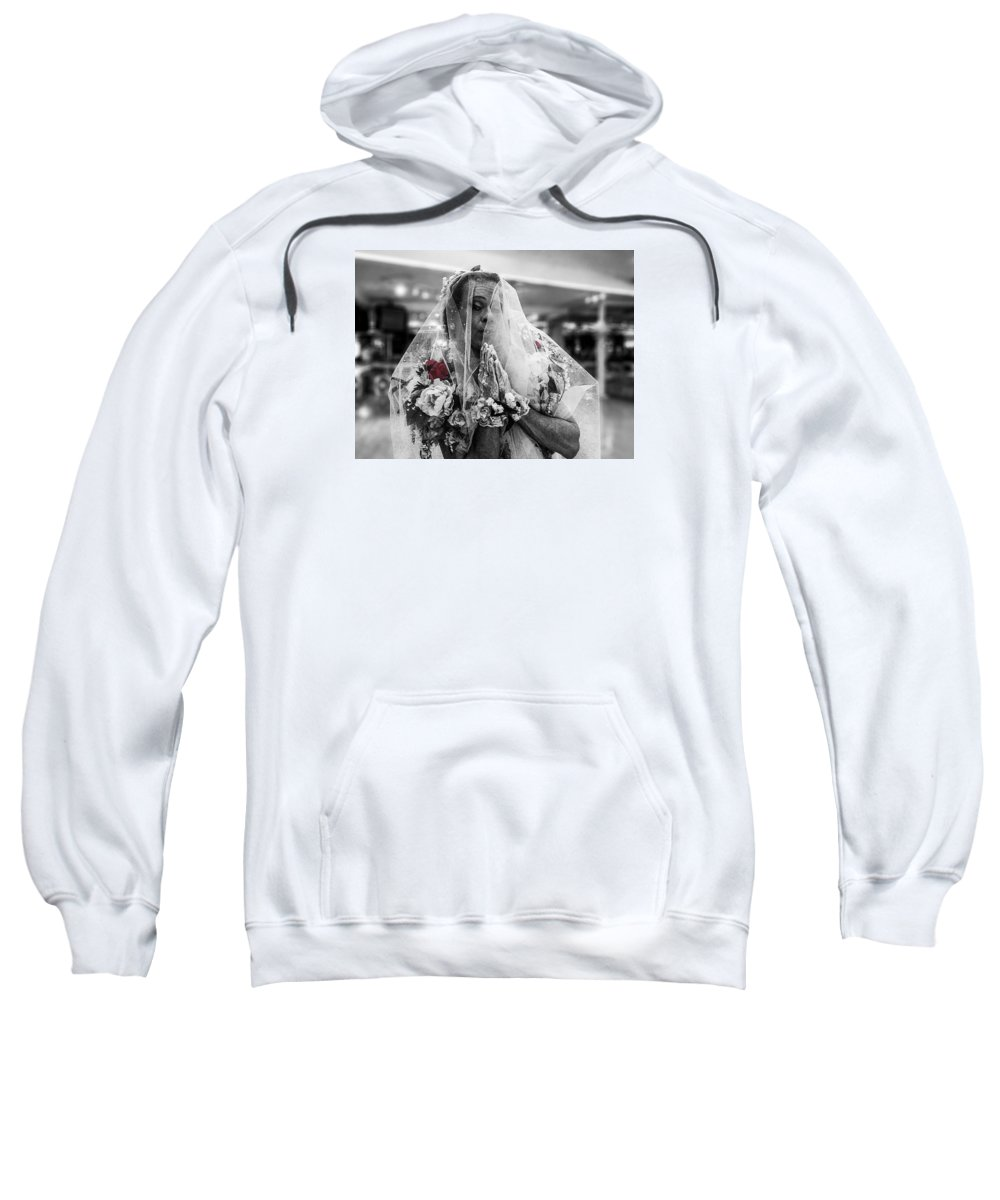 Rebecca Dru Photography Sweatshirt featuring the photograph Richard Simmons Is A Blushing Bride by Rebecca Dru