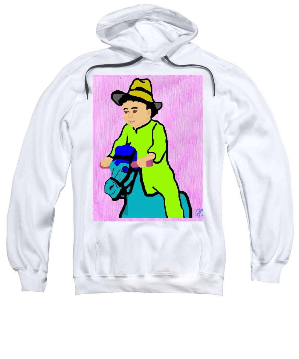 Toddler Sweatshirt featuring the drawing Ride The Horsey by Pharris Art