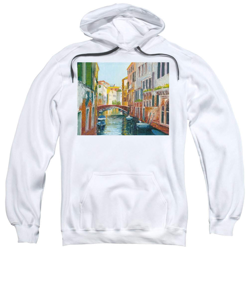 Venezia Sweatshirt featuring the painting Rio De San Francesco De La Vigna Venezia Italy by Dai Wynn