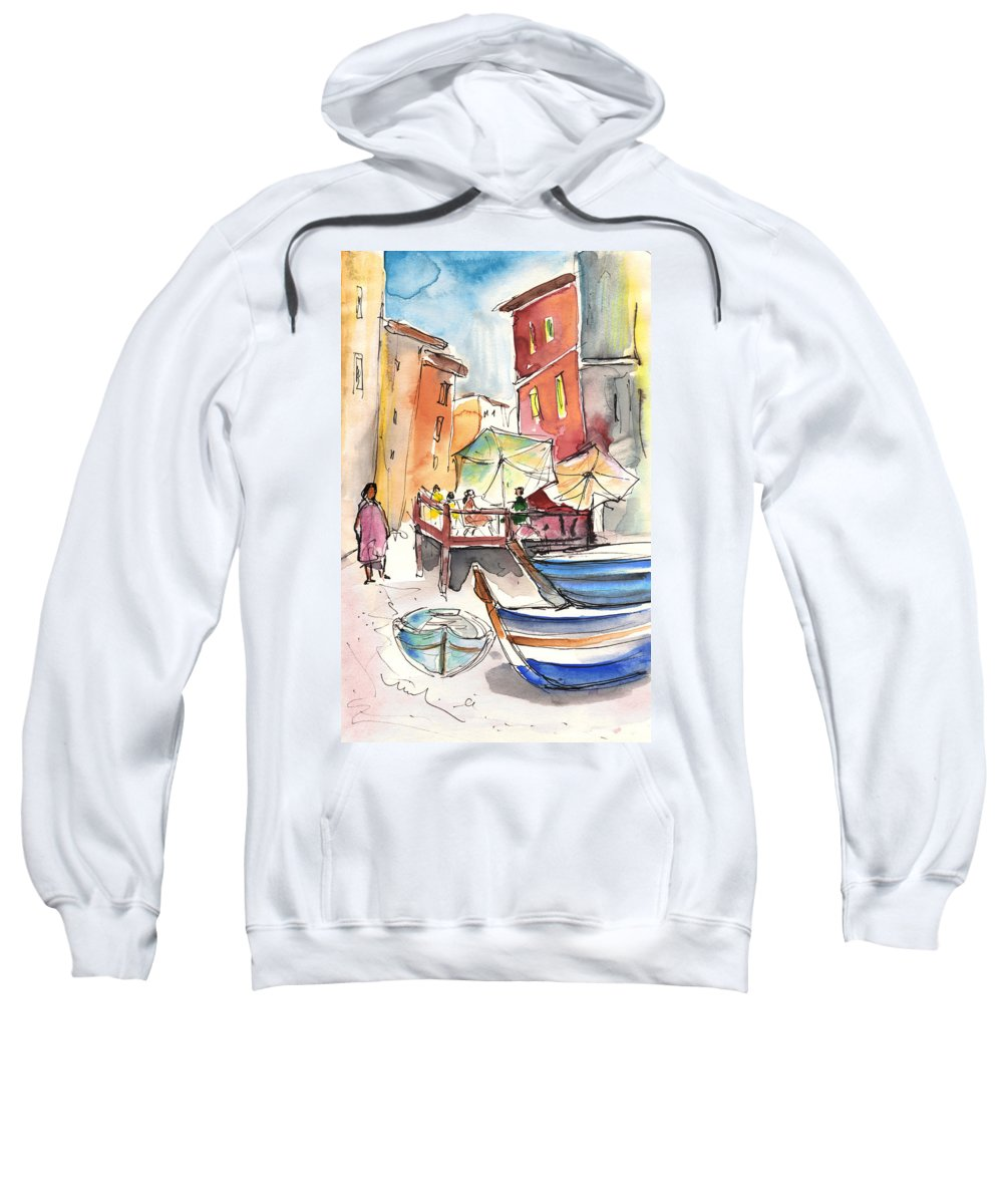 Italy Sweatshirt featuring the painting Riomaggiore In Italy 01 by Miki De Goodaboom