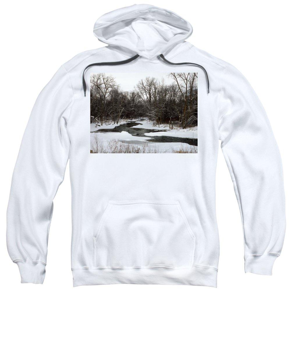 Chippewa River Sweatshirt featuring the photograph River Freeze by Linda Kerkau