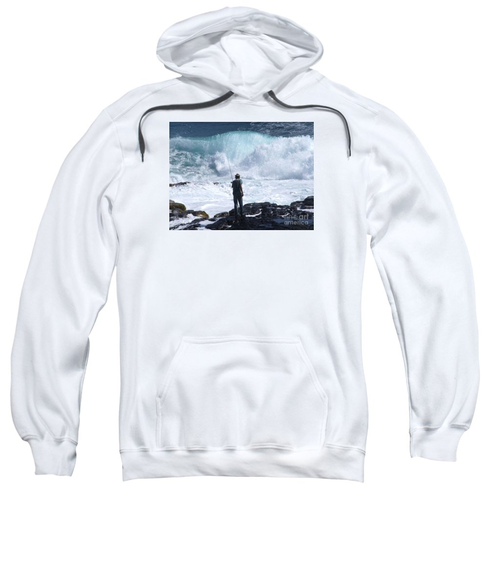 Fishing Sweatshirt featuring the photograph Rock Fisherman by Mary Deal