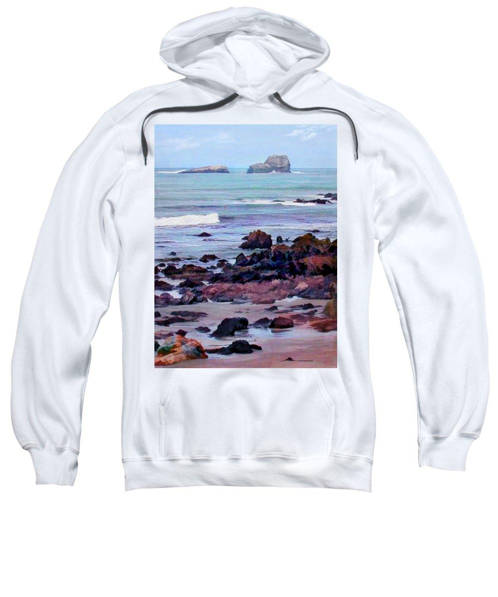 Ocean Sweatshirt featuring the painting Rocky Coast Off San Simeon by Elaine Plesser