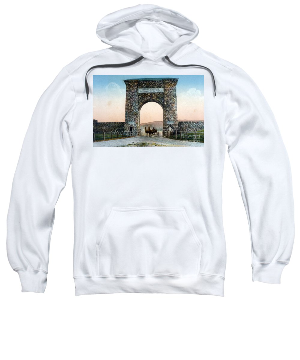 History Sweatshirt featuring the photograph Roosevelt Arch Yellowstone Np by NPS Photo Frank J Haynes