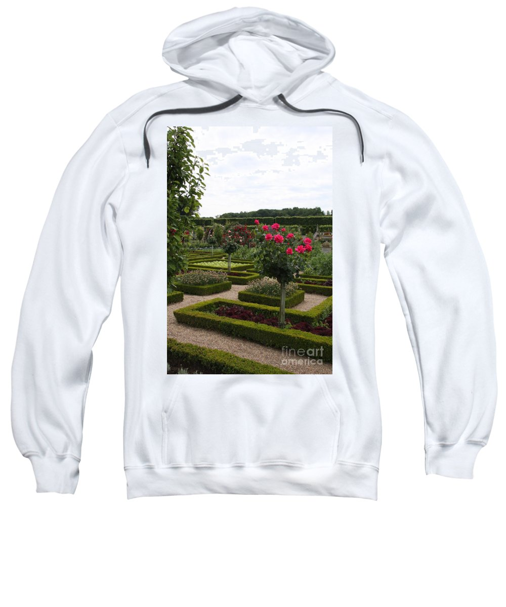 Roses Sweatshirt featuring the photograph Roses And Cabbage - Chateau Villandry by Christiane Schulze Art And Photography