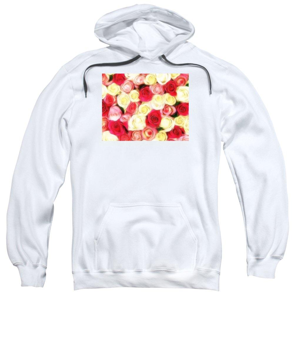 Roses Sweatshirt featuring the digital art Roses Of Love by Georgiana Romanovna