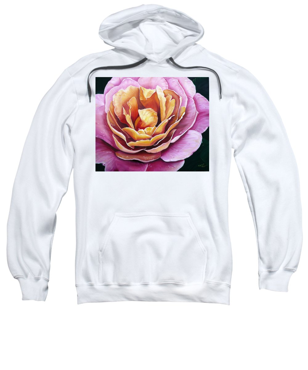 Rose Painting Pink Yellow Floral Painting Flower Bloom Botanical Painting Botanical Painting Sweatshirt featuring the painting Rosy Dew by Karin Dawn Kelshall- Best
