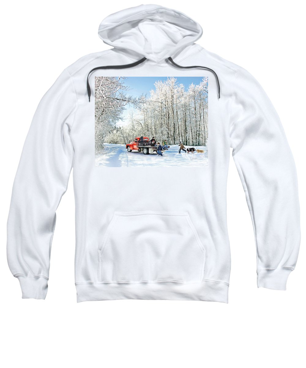 Hockey Art Prints Sweatshirt featuring the digital art Round Up by Elizabeth Urlacher