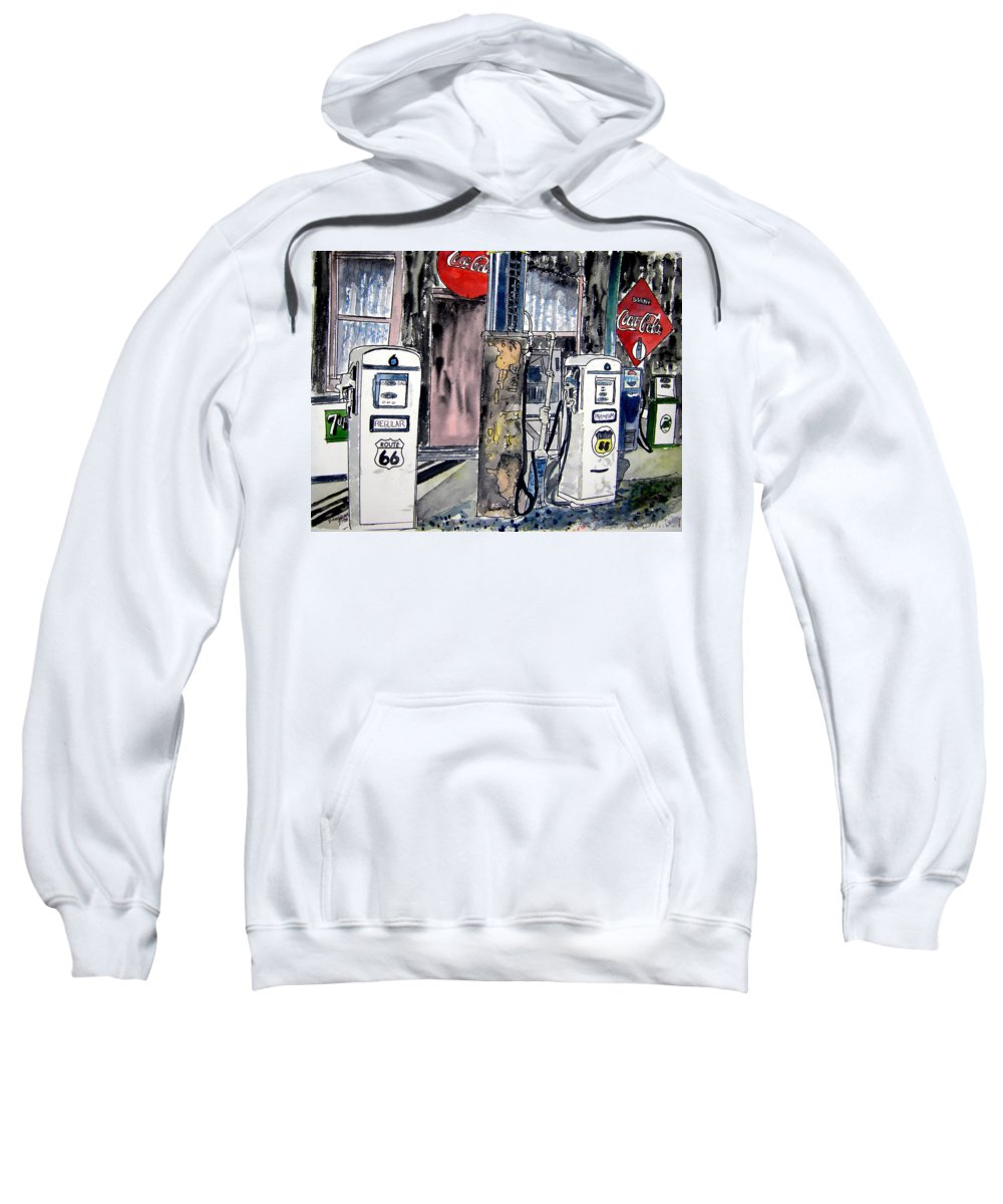 Watercolor Sweatshirt featuring the painting Route 66 gas station by Derek Mccrea