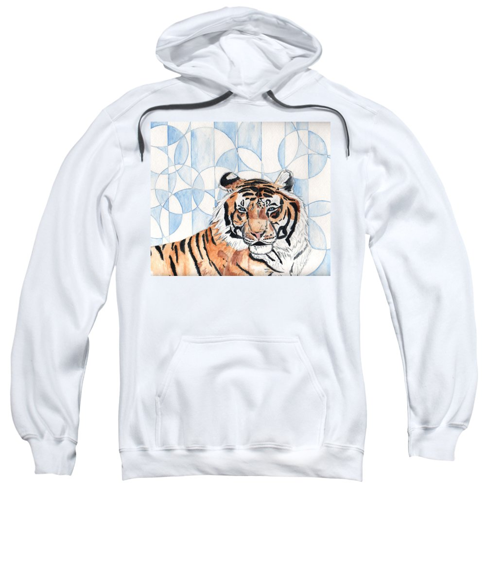 Tiger Sweatshirt featuring the painting Royal Mysticism by Crystal Hubbard