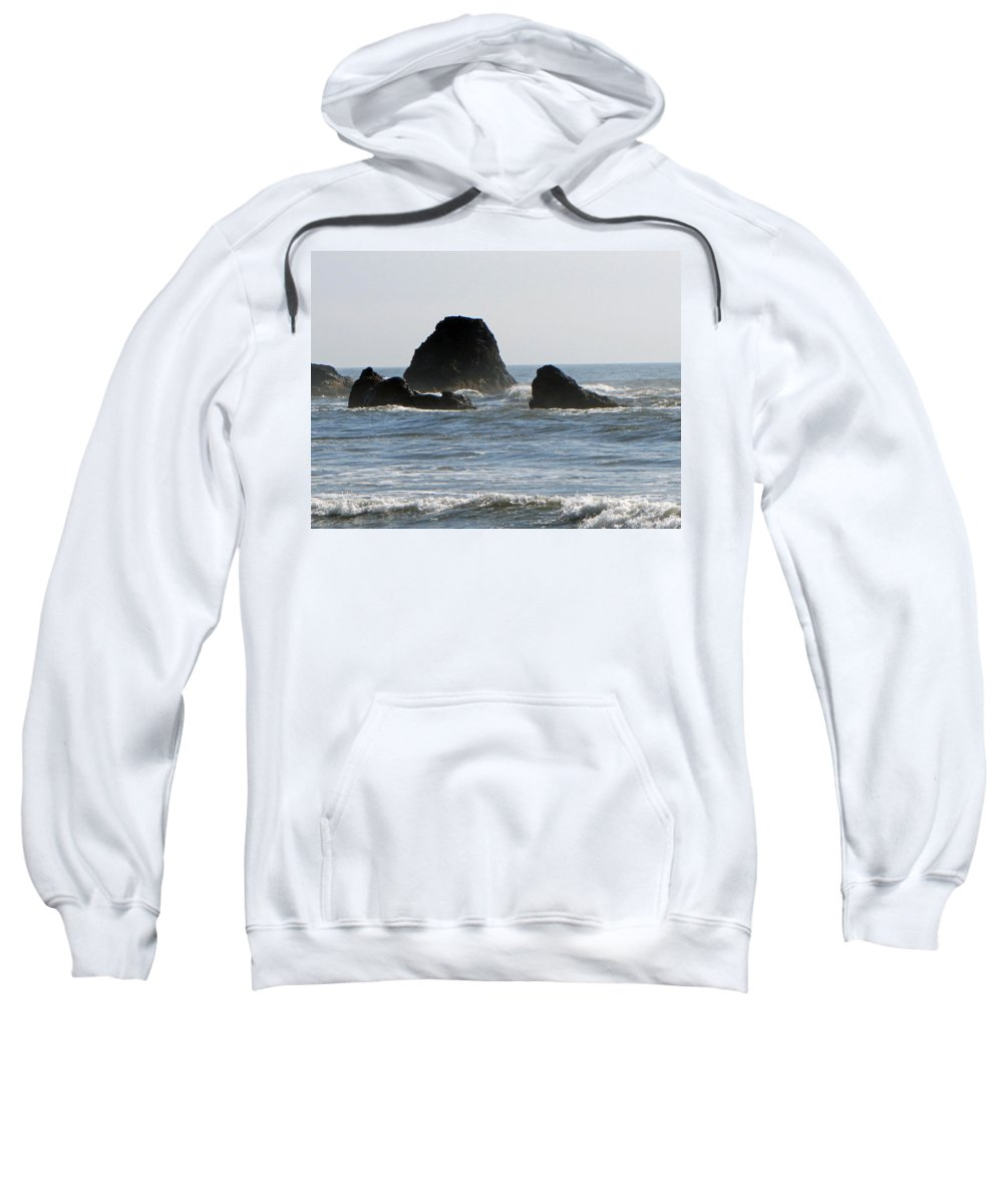 Terrie Heslop Sweatshirt featuring the photograph Ruby Beach Sea Stack by Tikvah's Hope