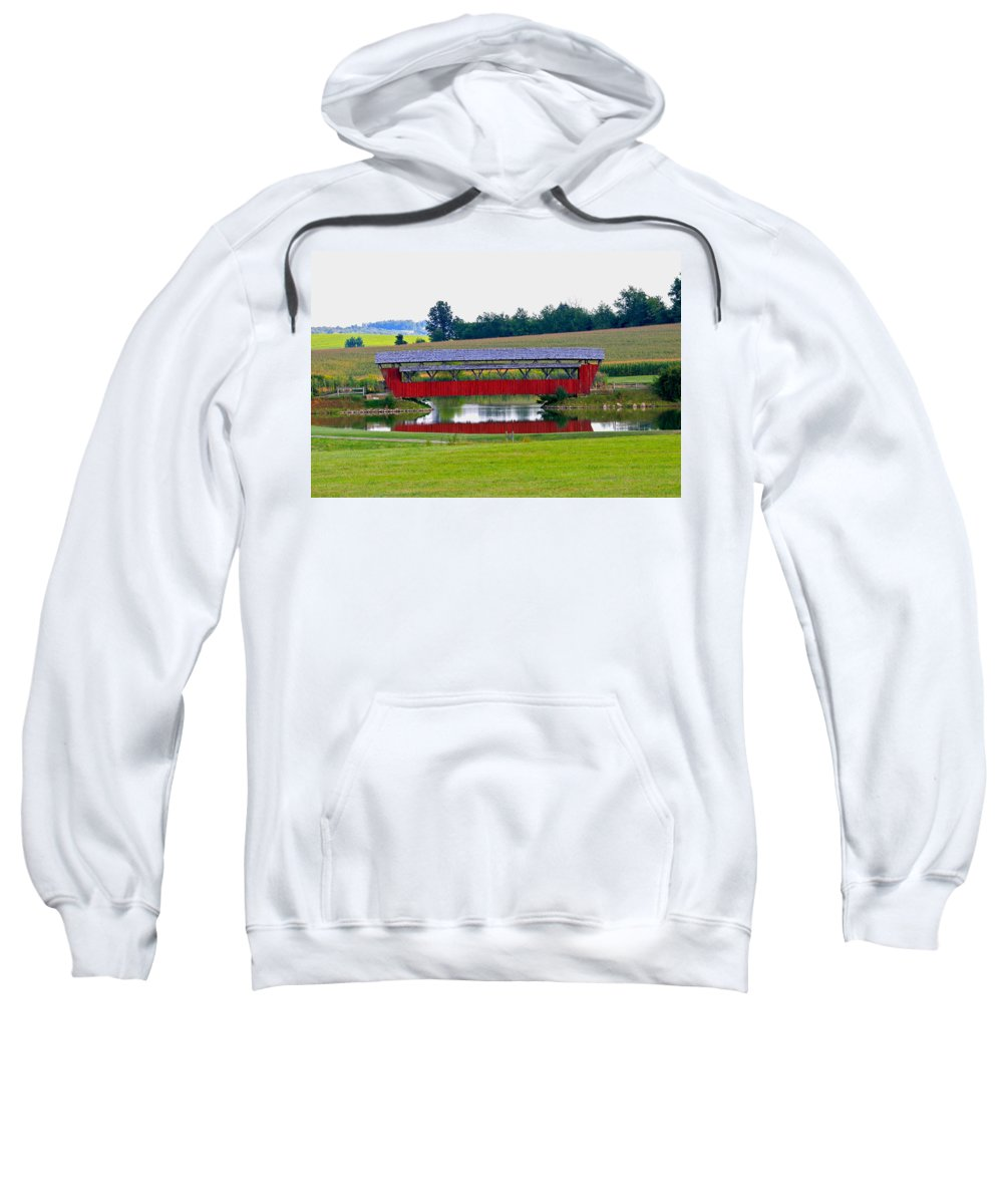 Architecture Sweatshirt featuring the photograph Ruffner Covered Bridge by Jack R Perry