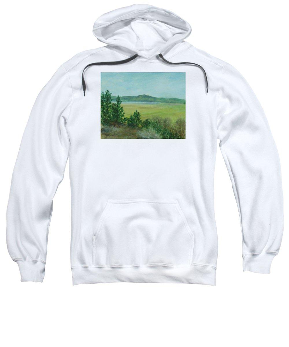 Rural Landscape Painting Sweatshirt featuring the painting Rural Landscape Art Original Colorful Oil Painting Swan Lake Oregon by K Joann Russell