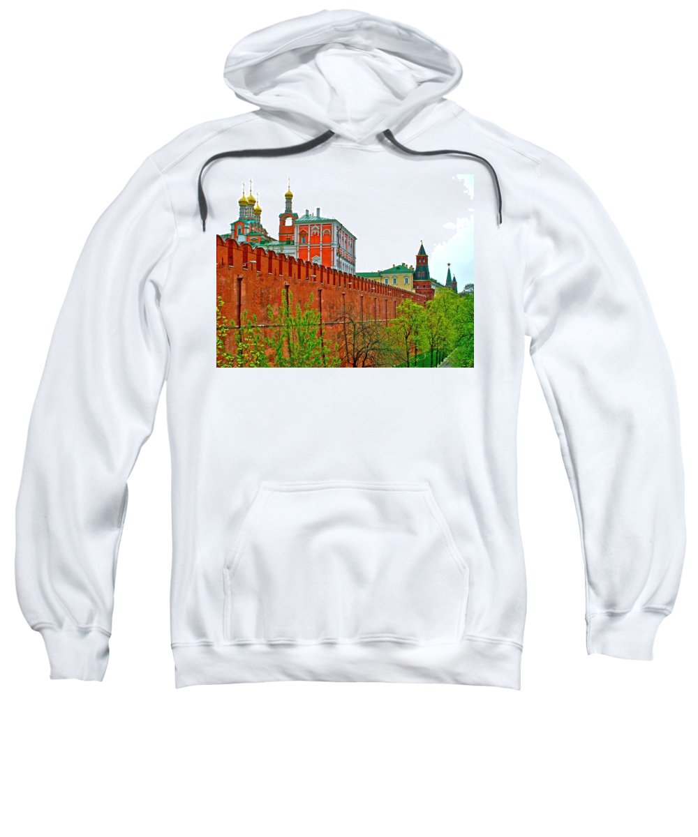 Russian Orthodox Church From Park Outside The Kremlin In Moscow Sweatshirt featuring the photograph Russian Orthodox Church From Park Outside The Kremlin In Moscow-russia by Ruth Hager