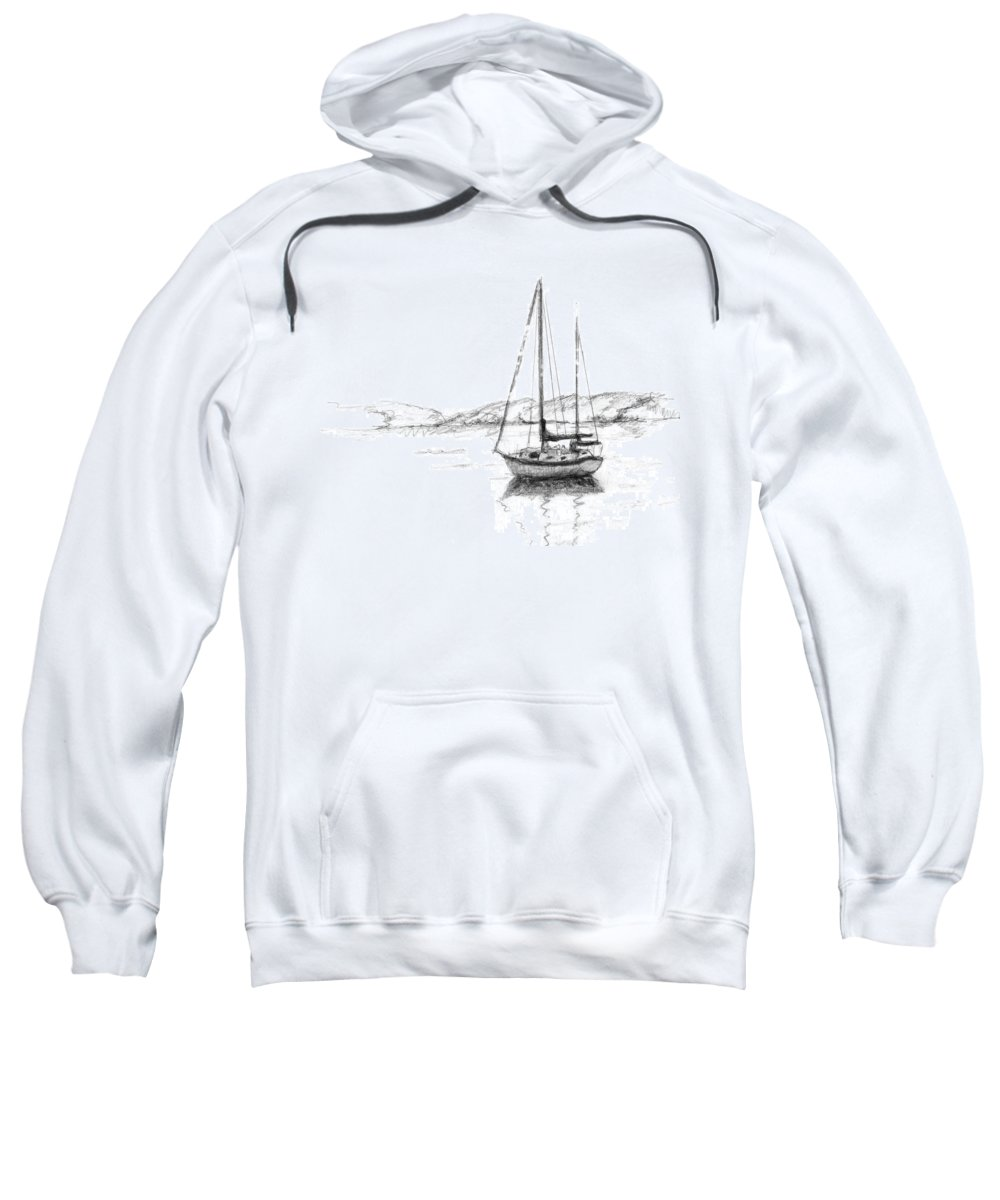 Landscape Sweatshirt featuring the drawing Sailboat by Sarah Parks