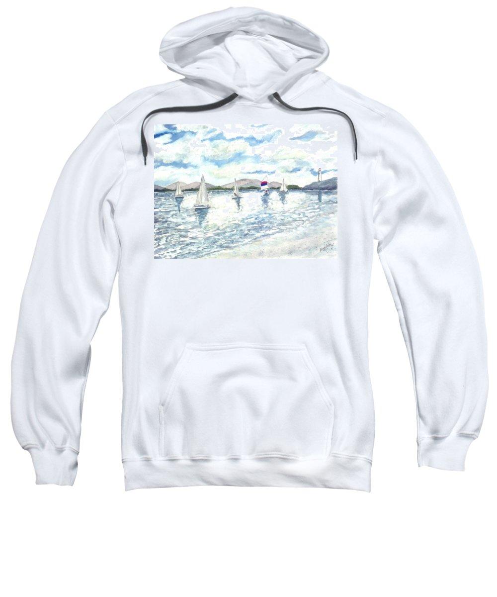 Sailboats Sweatshirt featuring the painting Sailboats by Derek Mccrea