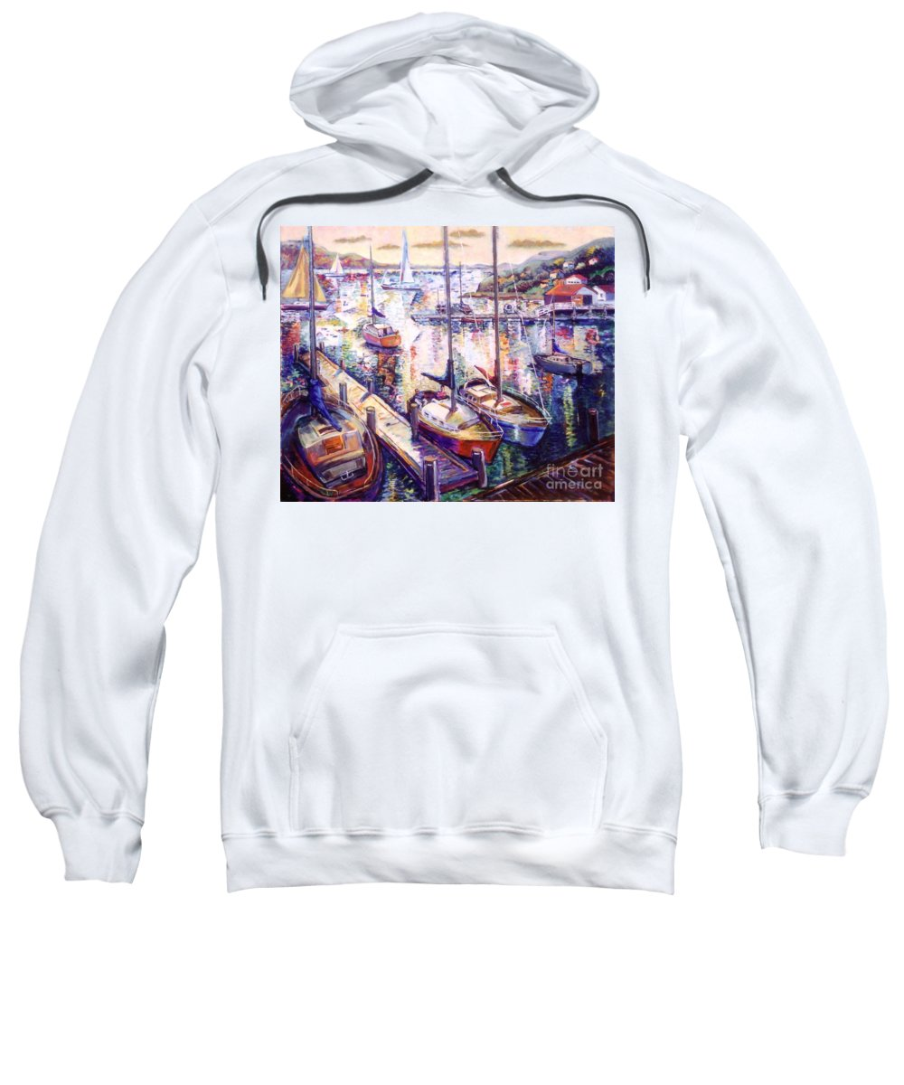 Sailboats Sweatshirt featuring the painting Sailboats by Stan Esson
