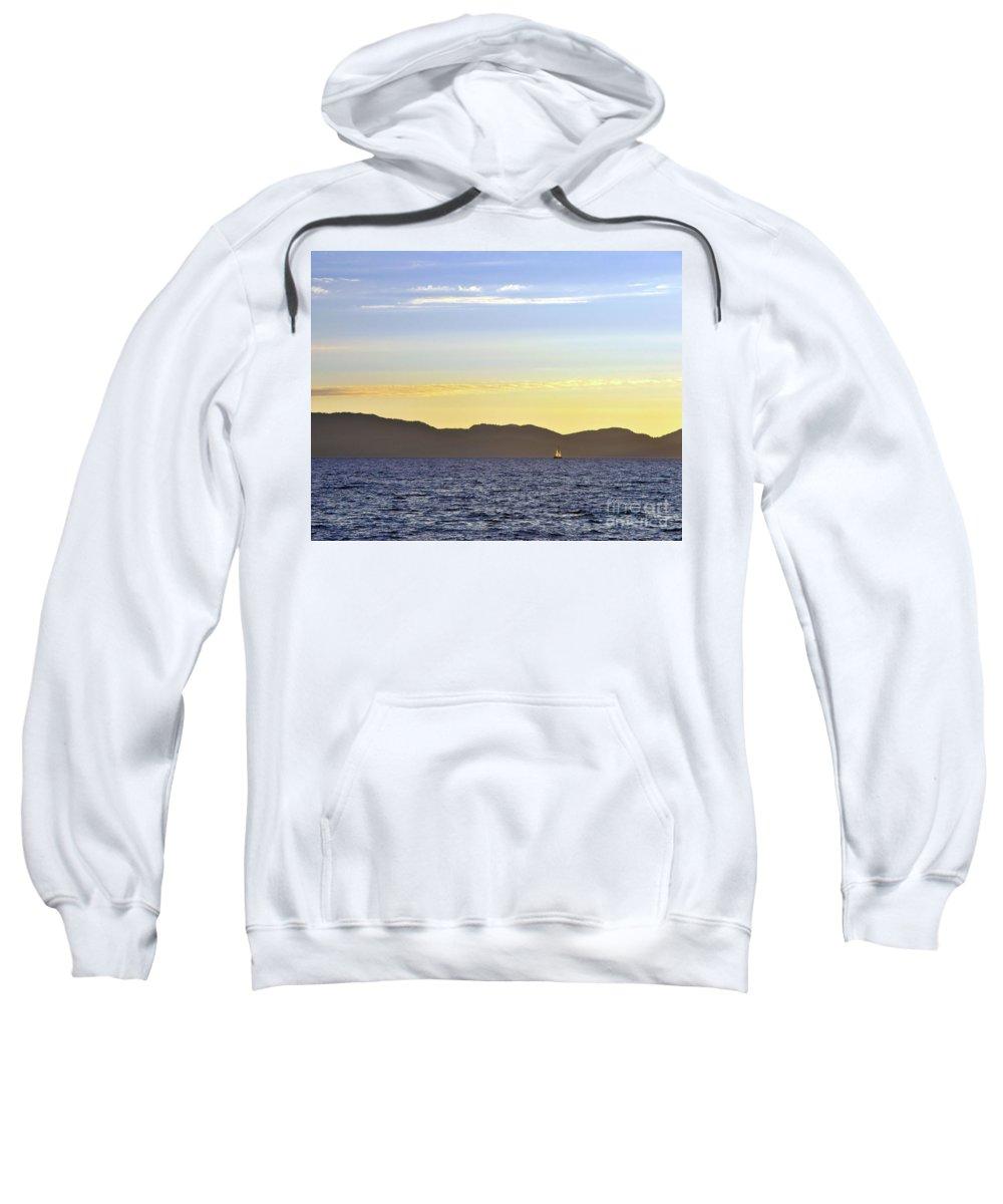 Sail Sweatshirt featuring the photograph Sailing At Sunset - Lake Tahoe by John Waclo