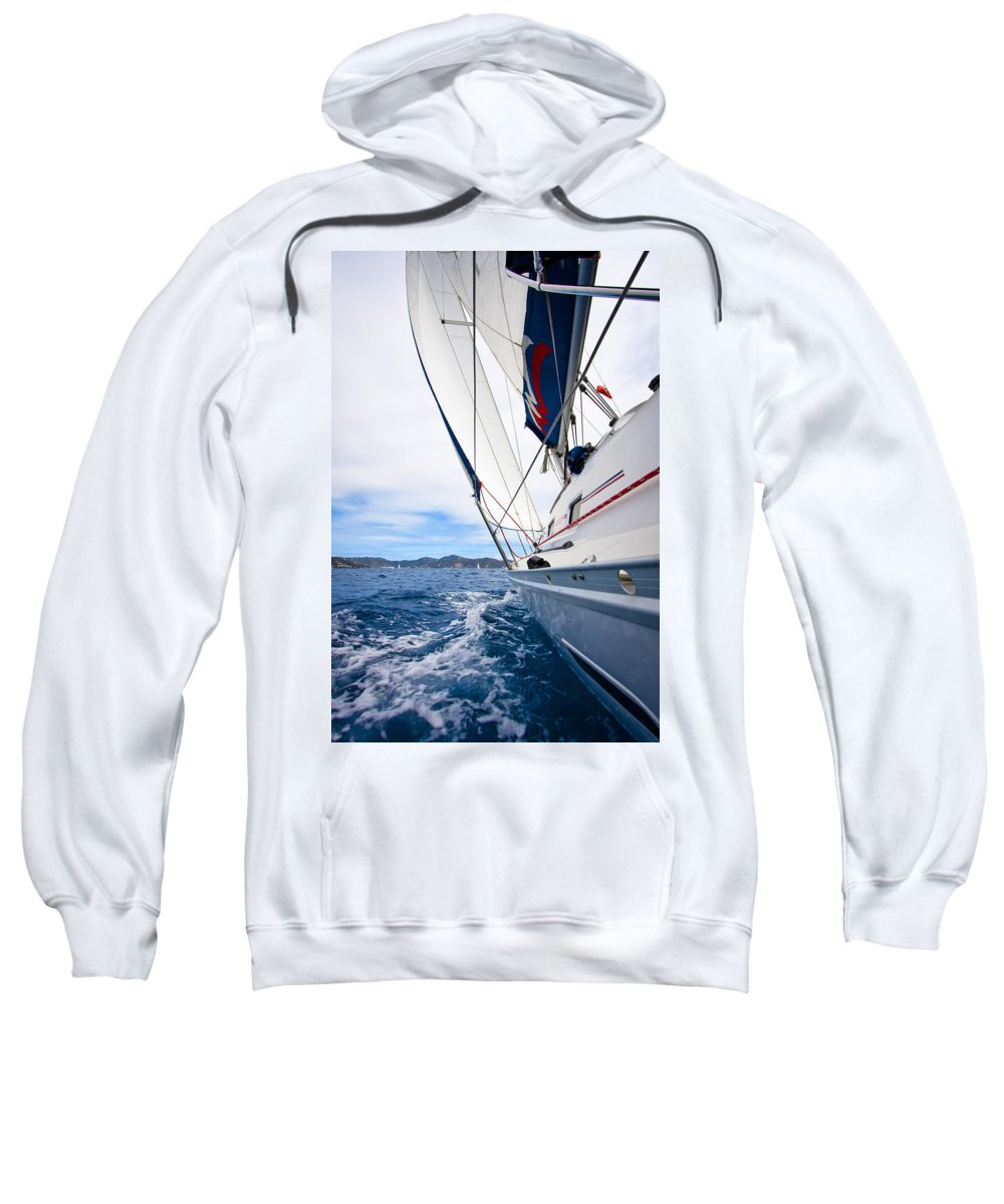 3scape Sweatshirt featuring the photograph Sailing Bvi by Adam Romanowicz